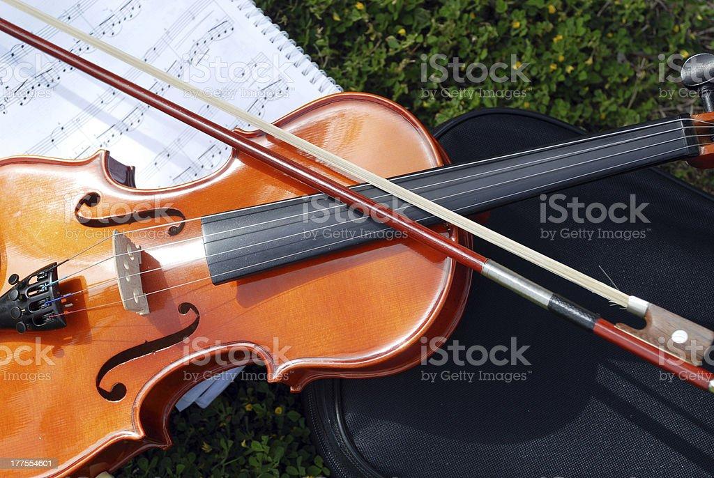Violin on sheet music royalty-free stock photo