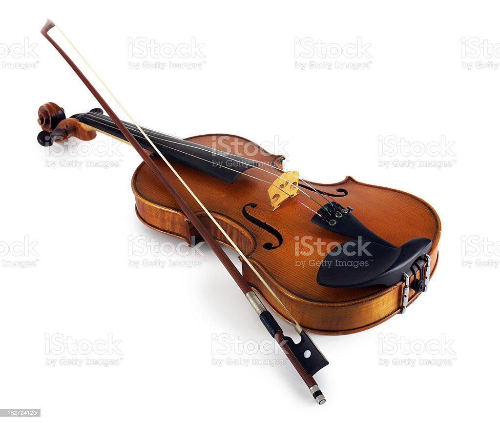 Violin on white background stock photo