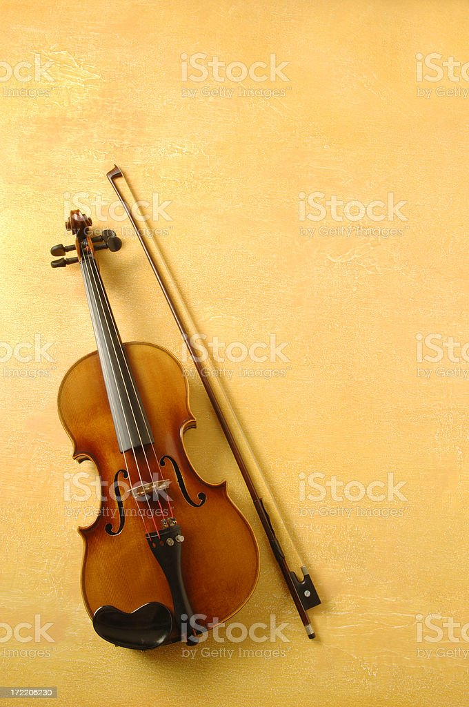 Violin on Yellow Background royalty-free stock photo