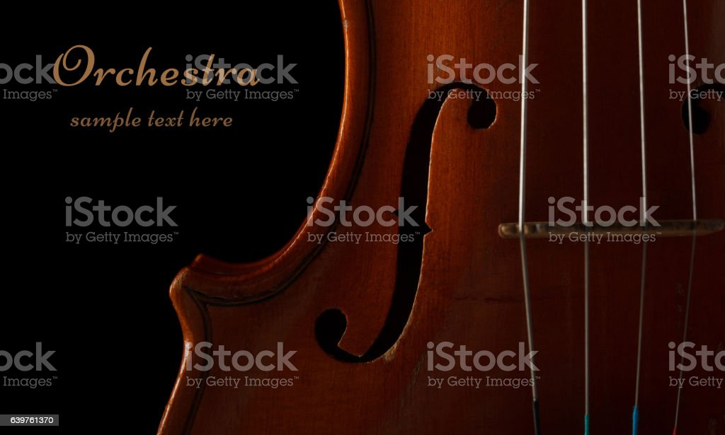 Violin part close-up stock photo