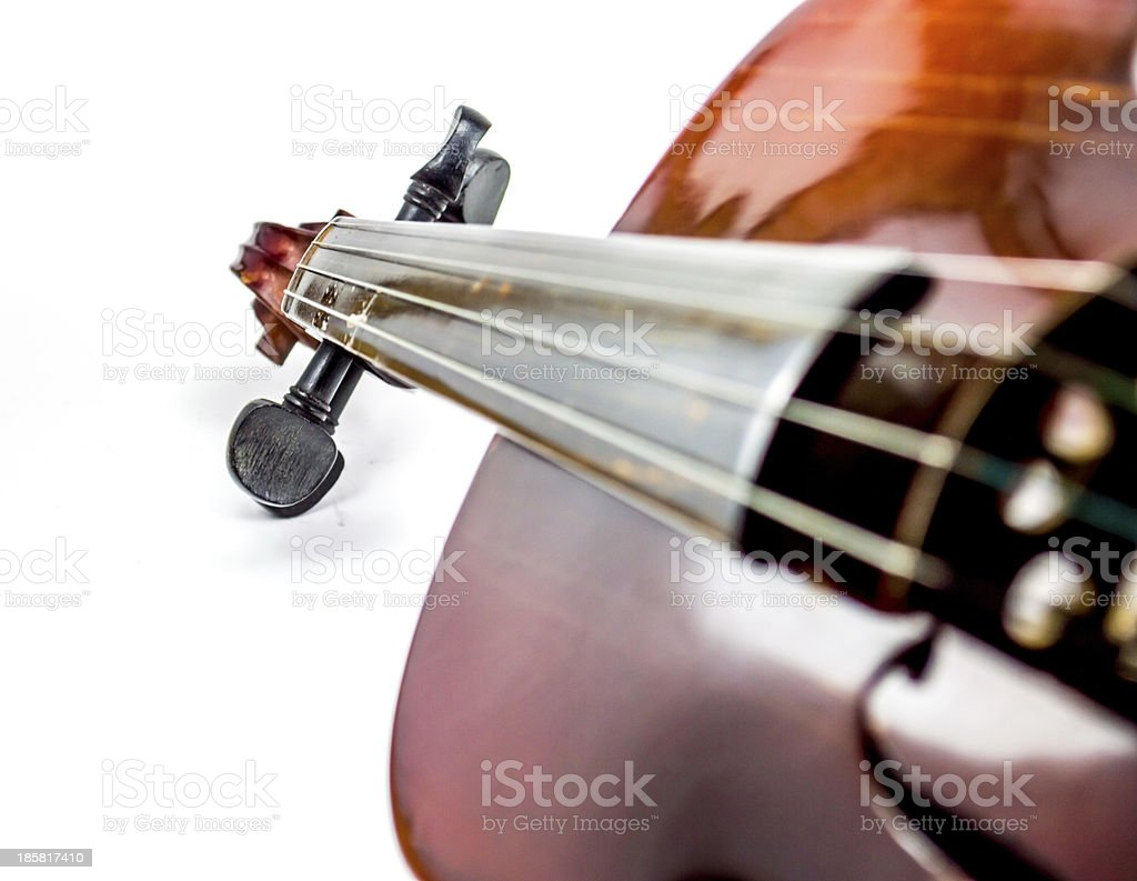 Violin scroll and body stock photo