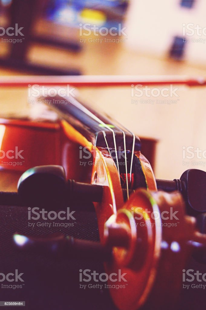 A violin shot laterally . Depth of field stock photo