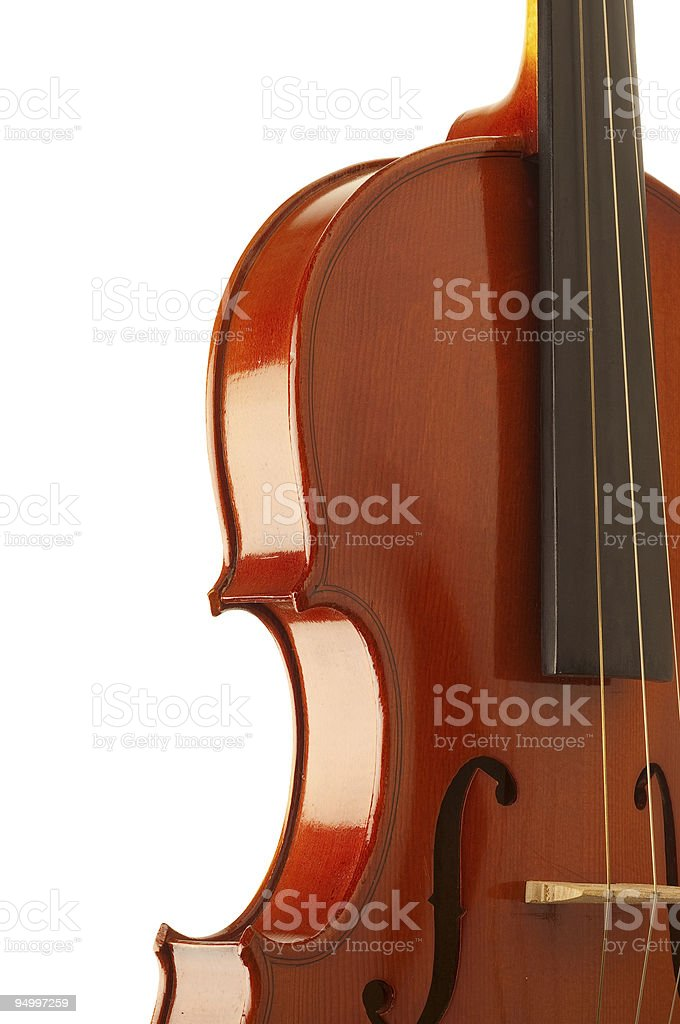 violin side detail in white background stock photo