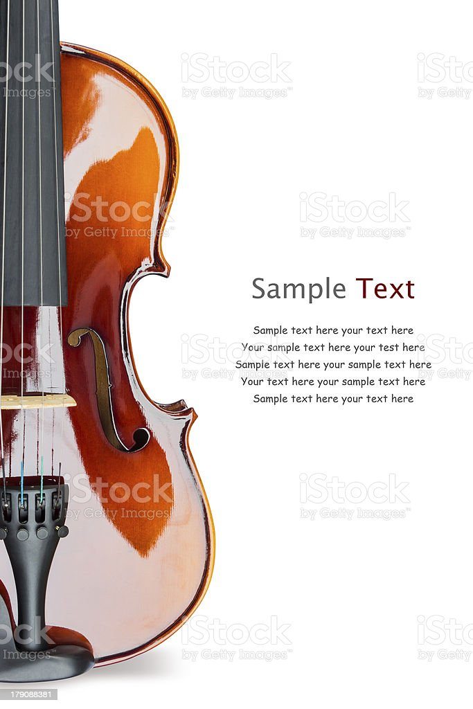 Violin stock image next to sample text stock photo