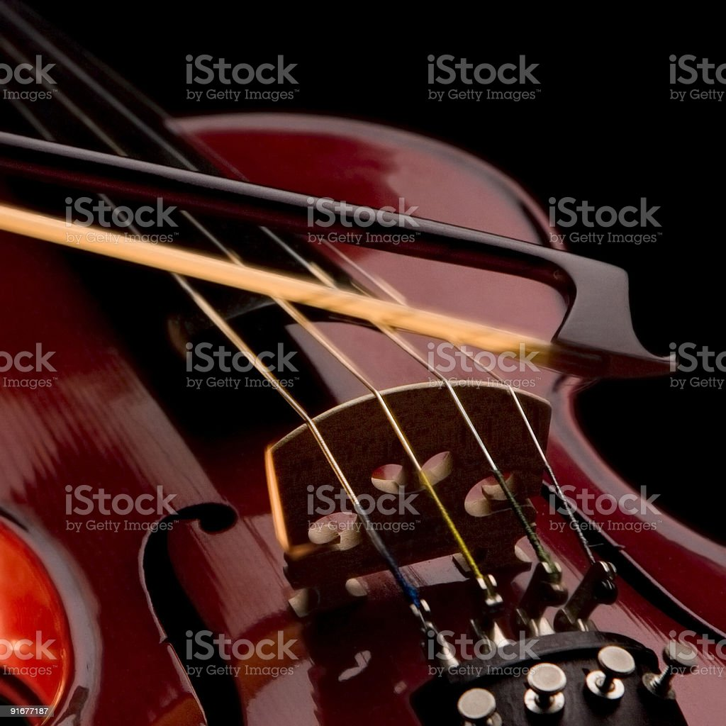 violin strings and bow stock photo