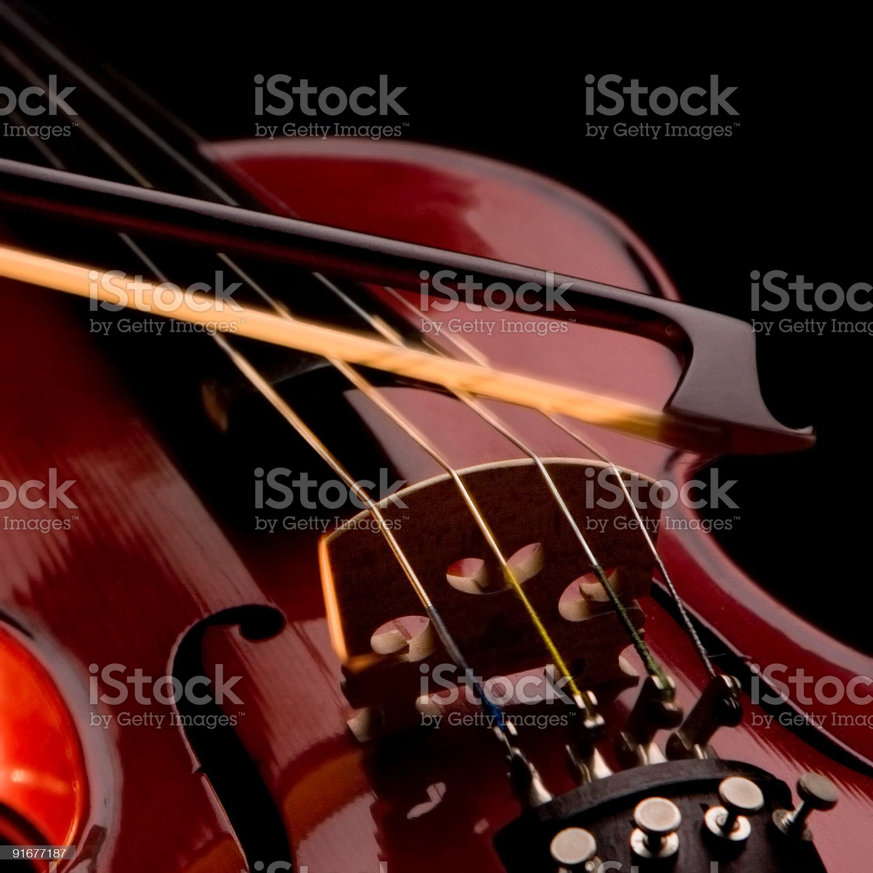 violin strings and bow royalty-free stock photo
