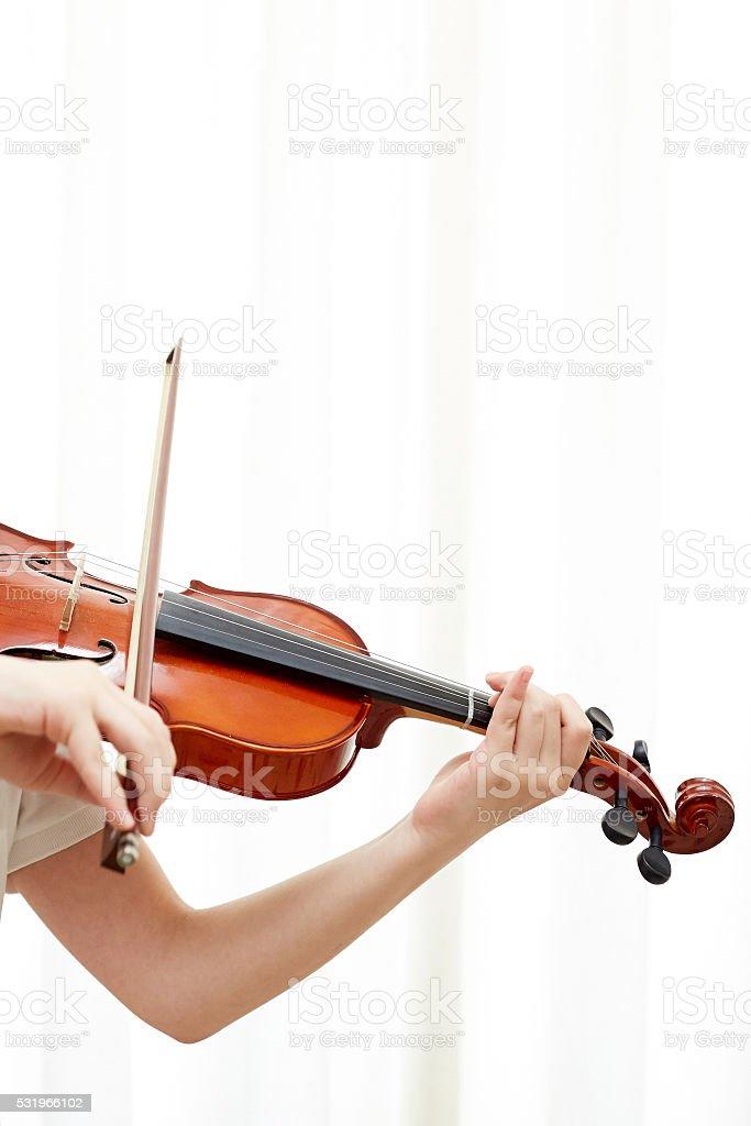 violin student stock photo