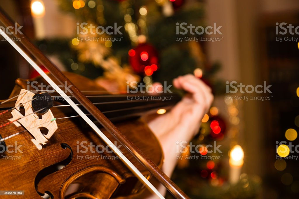 violin with christmas tree stock photo