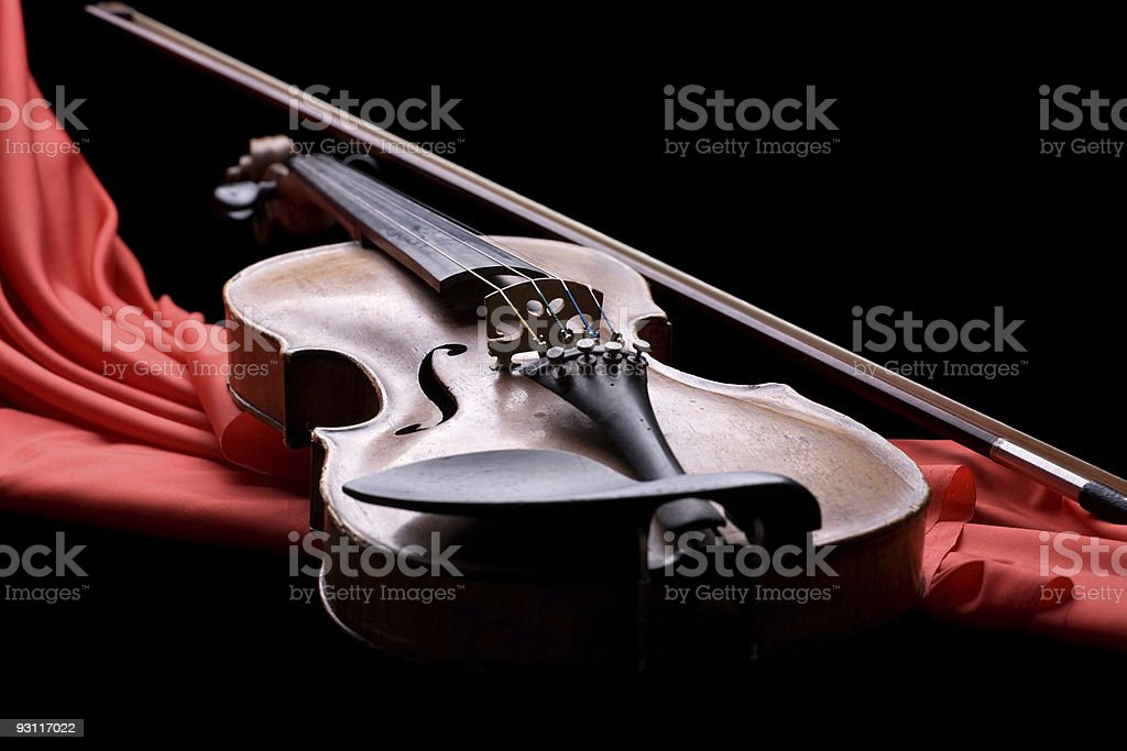 violin with fiddlestick royalty-free stock photo