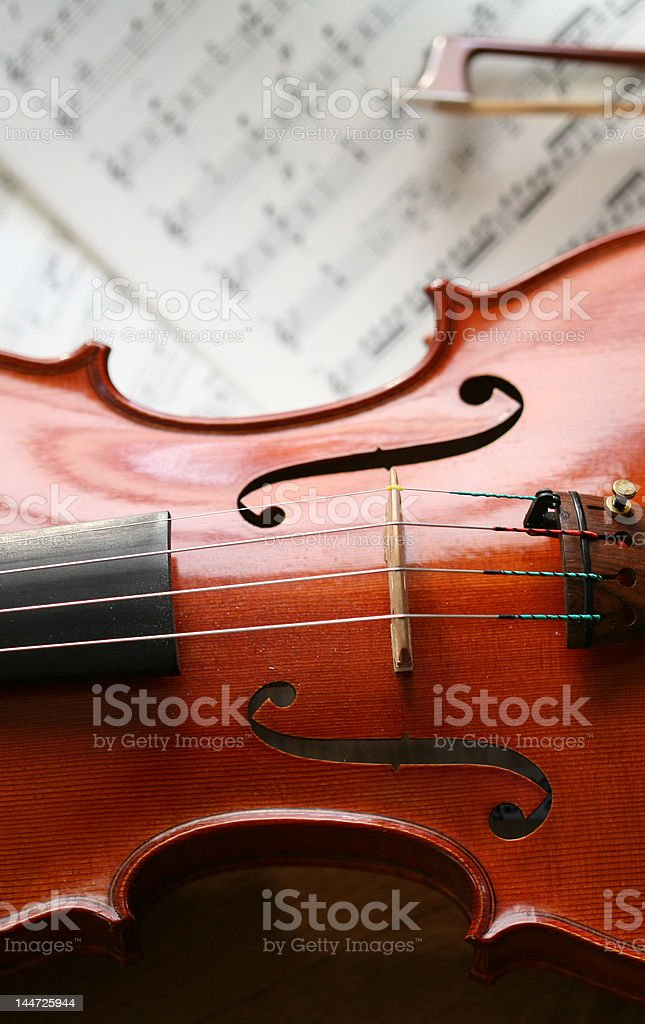 violin with sheet of music royalty-free stock photo