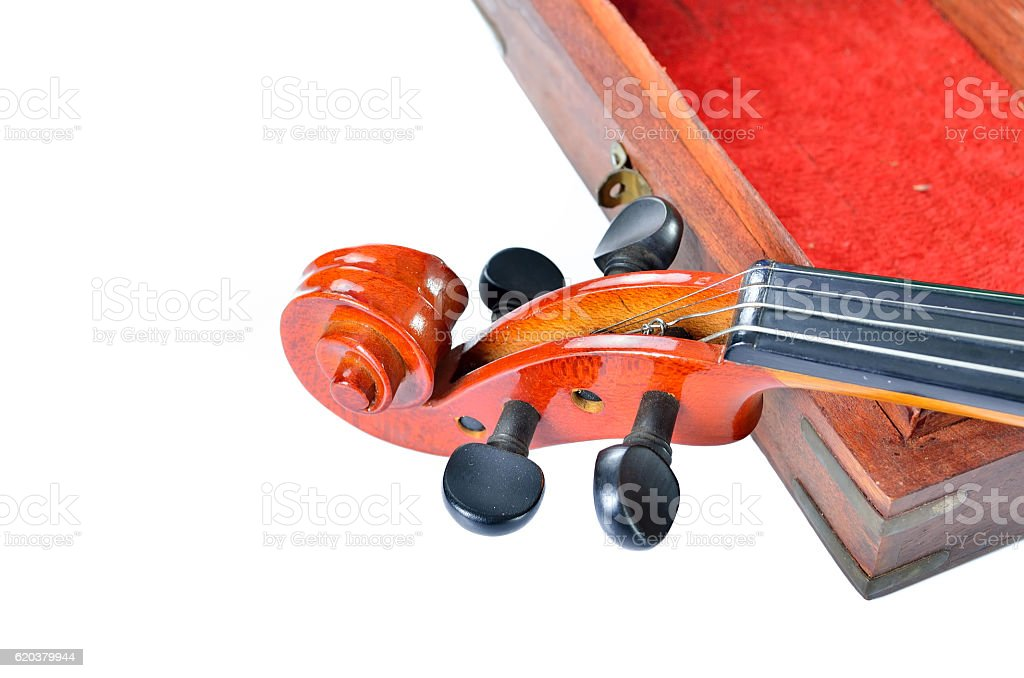 Violin with wooden box isolated on white background. Music concept stock photo