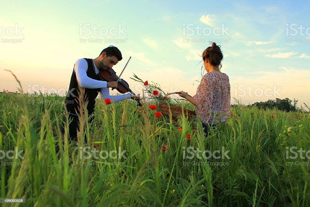 Violinist and girl on the meadow stock photo
