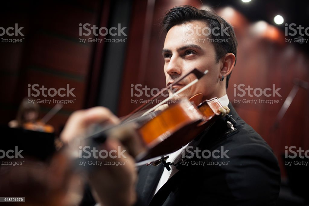violinist boy with suit stock photo