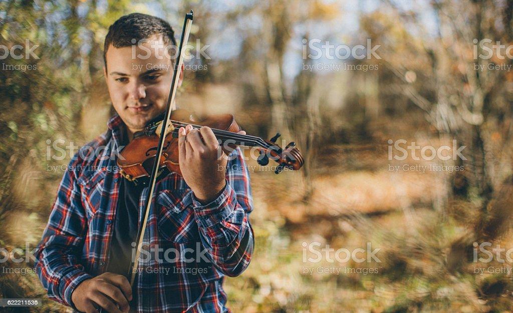 Violinist in nature stock photo