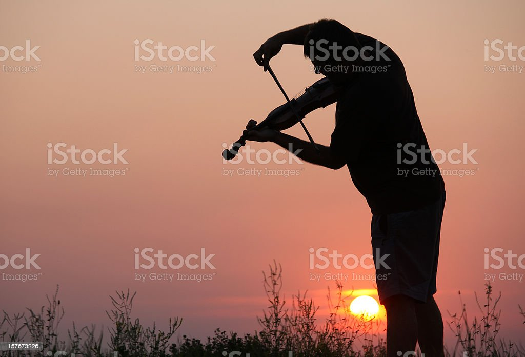Violinist in Outdoor Concert stock photo