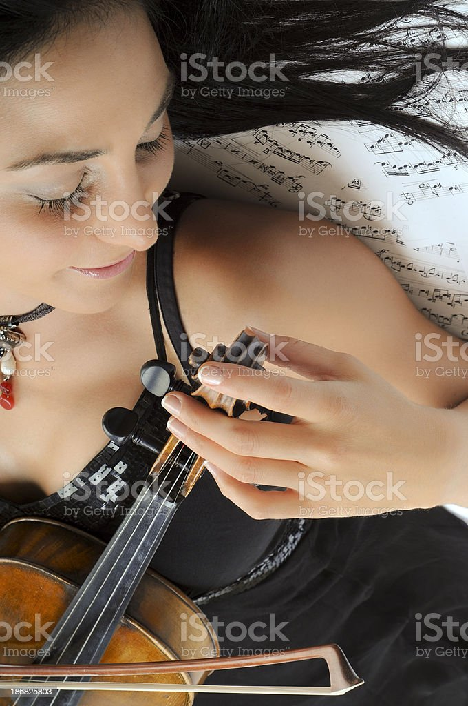 Violinist on Musical Notes stock photo
