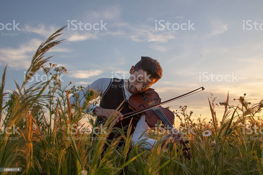 Violinist playing violin in nature stock photo