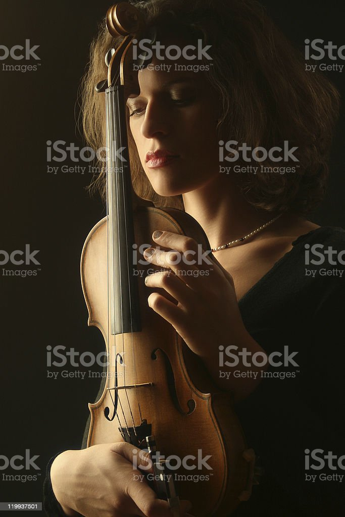 Violinist with violin stock photo