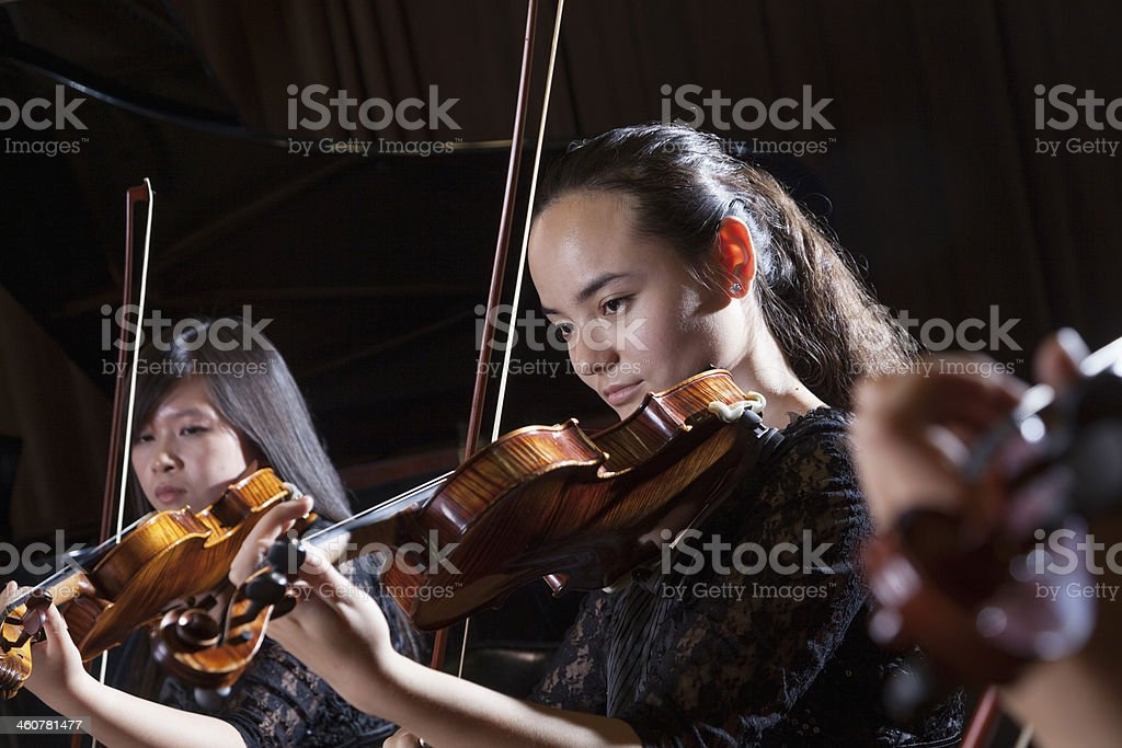 Violinists playing during a performance, head and shoulders stock photo