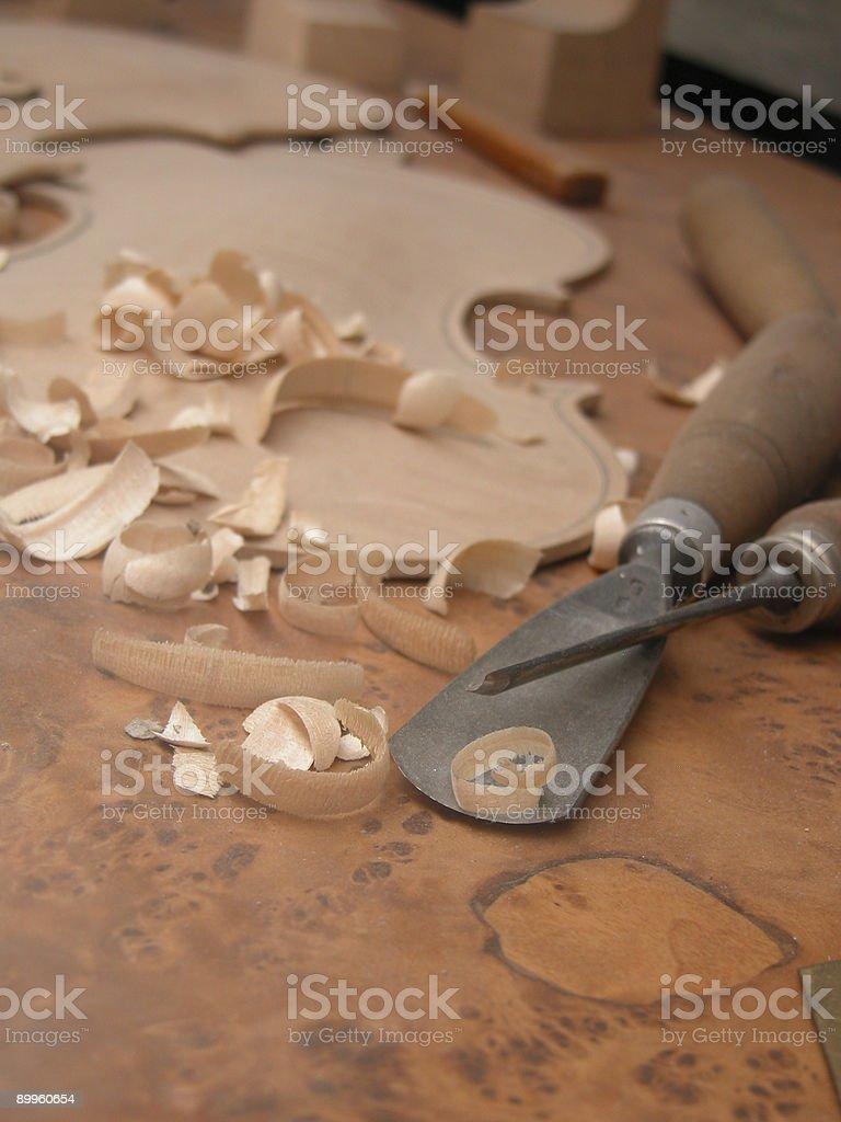 Violinmaker table stock photo