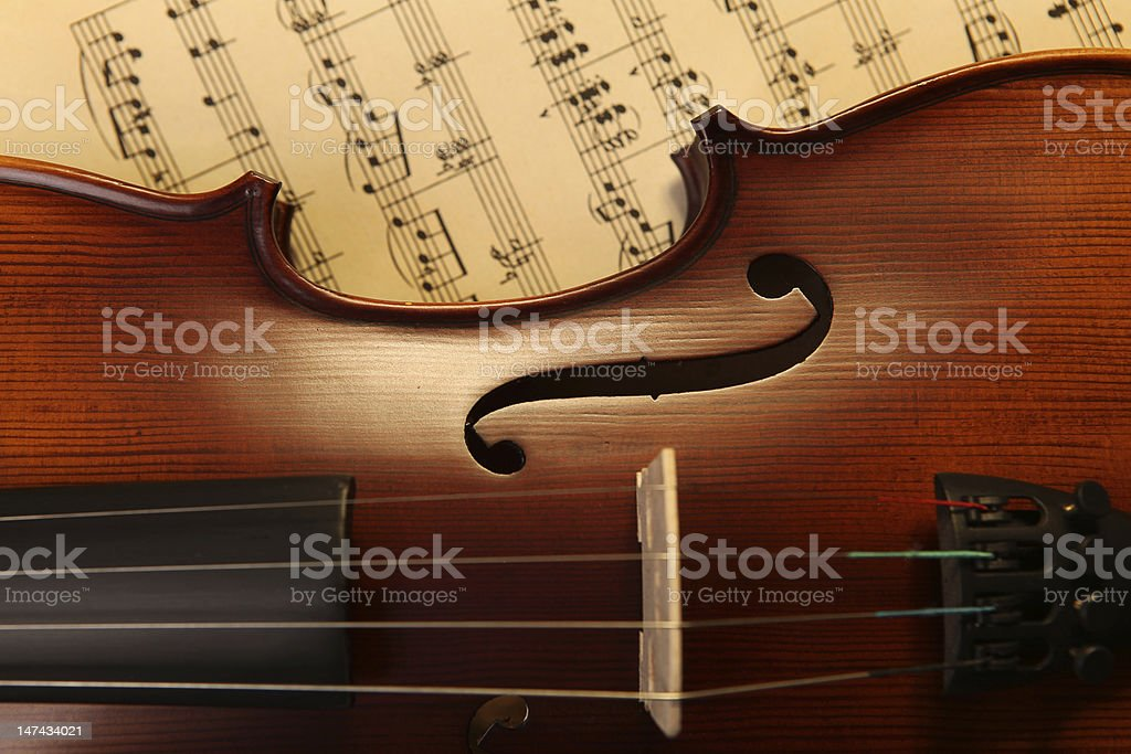 Violon on sheet music stock photo