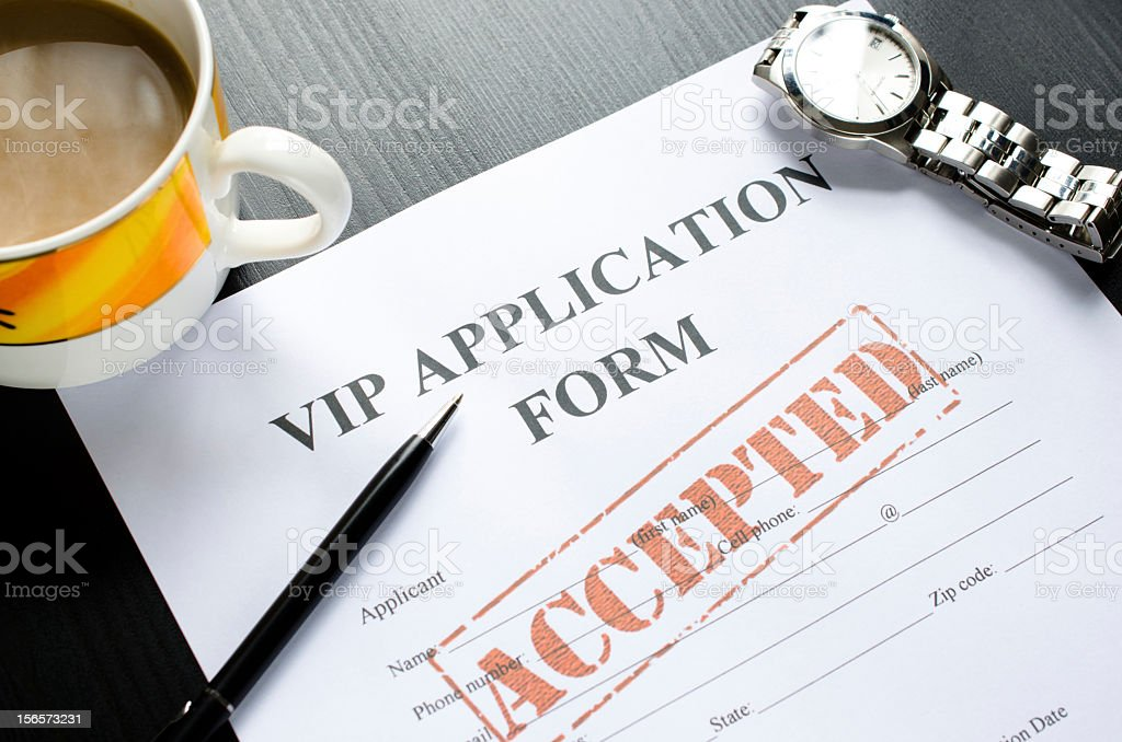 vip application - accepted stock photo