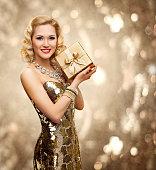 Vip Woman Present Gift Box, Retro Lady Gold Sparkling Dress