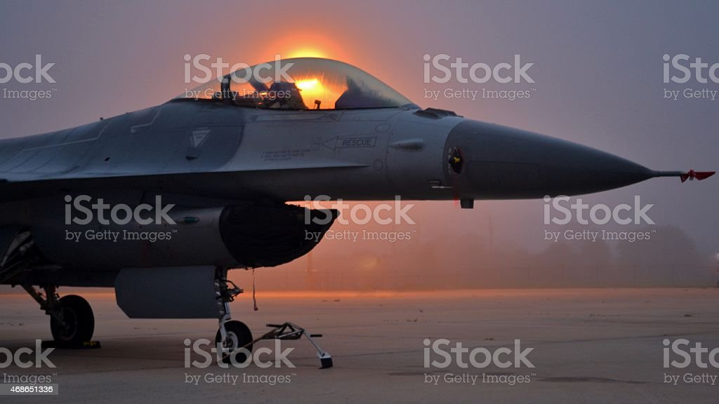 F-16 Viper on Runway stock photo