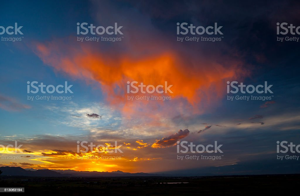 Virga Cloud Boulder Colorado Sunset stock photo
