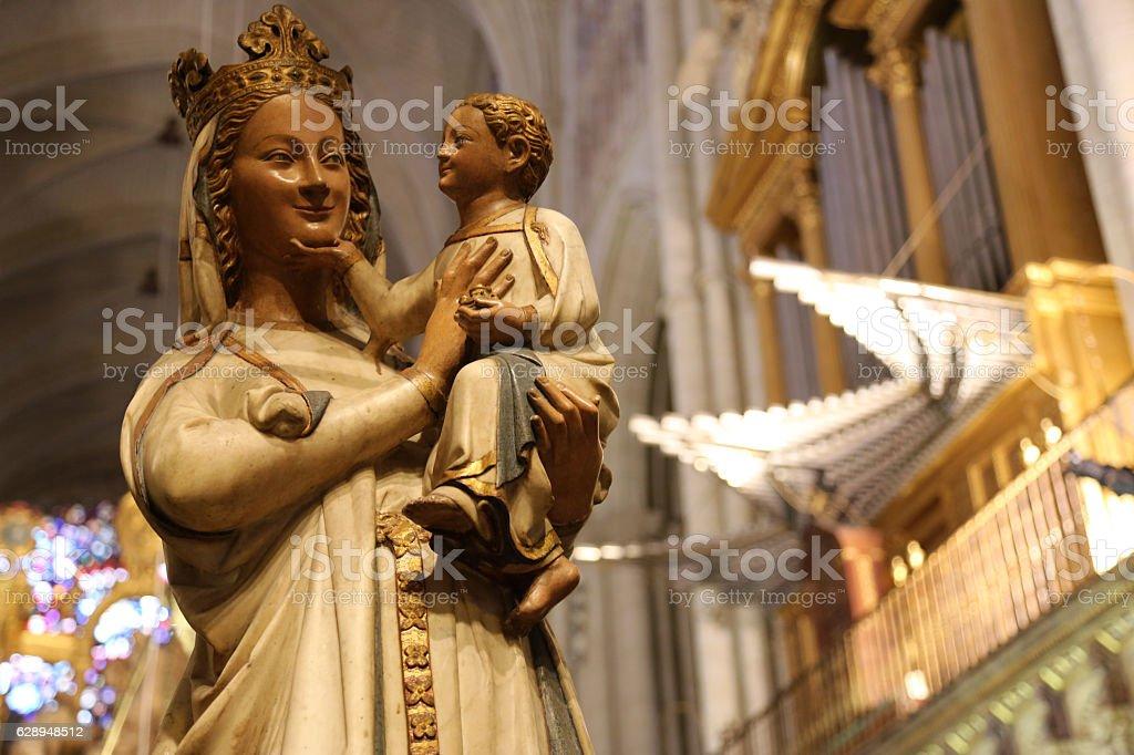 Virgen Blanca in Cathedral of Toledo in Spain stock photo