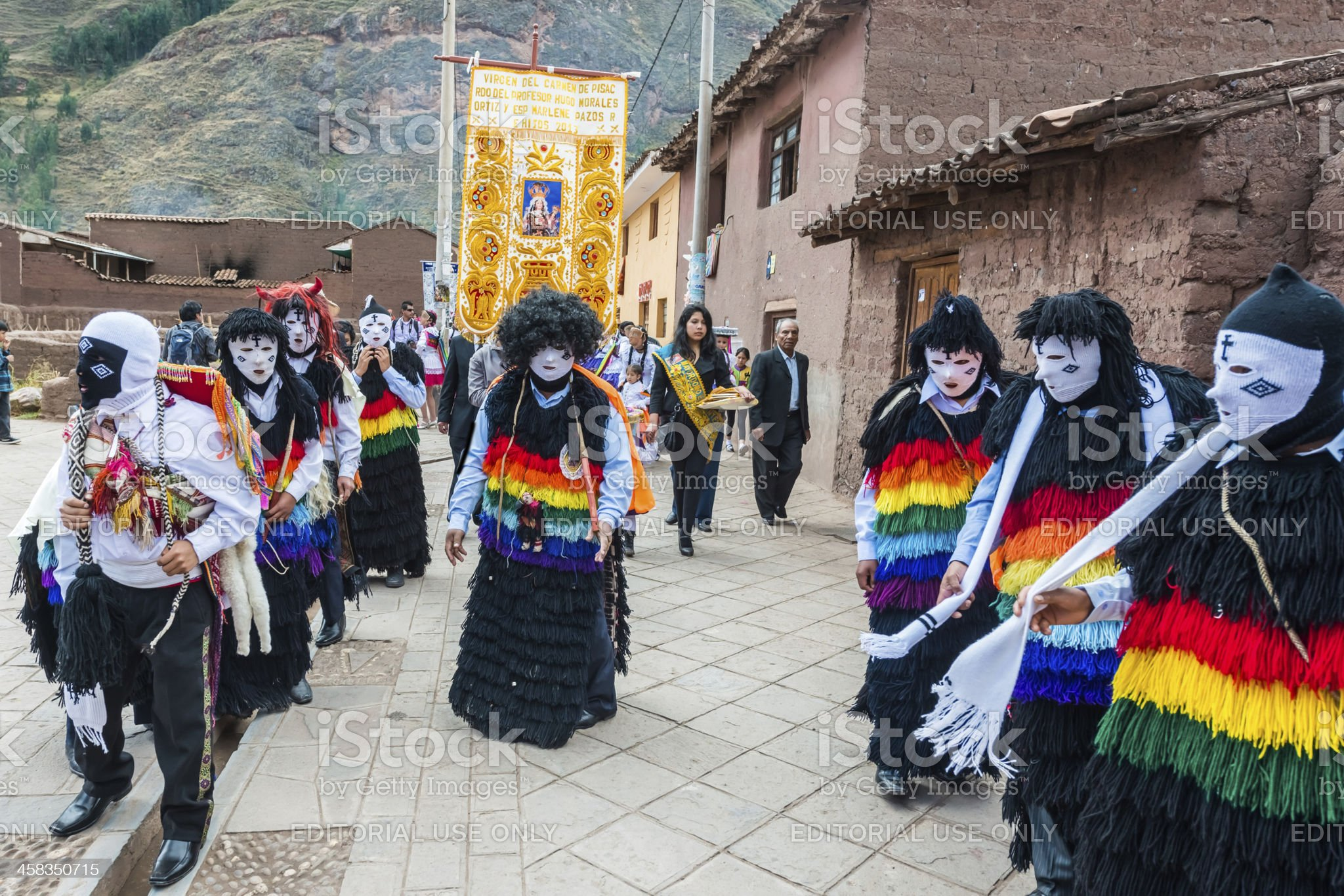 Virgen del Carmen parade peruvian Andes Pisac Peru royalty-free stock photo