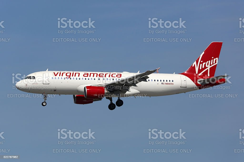Virgin America Airbus A320 airplane Los Angeles International Airport stock photo