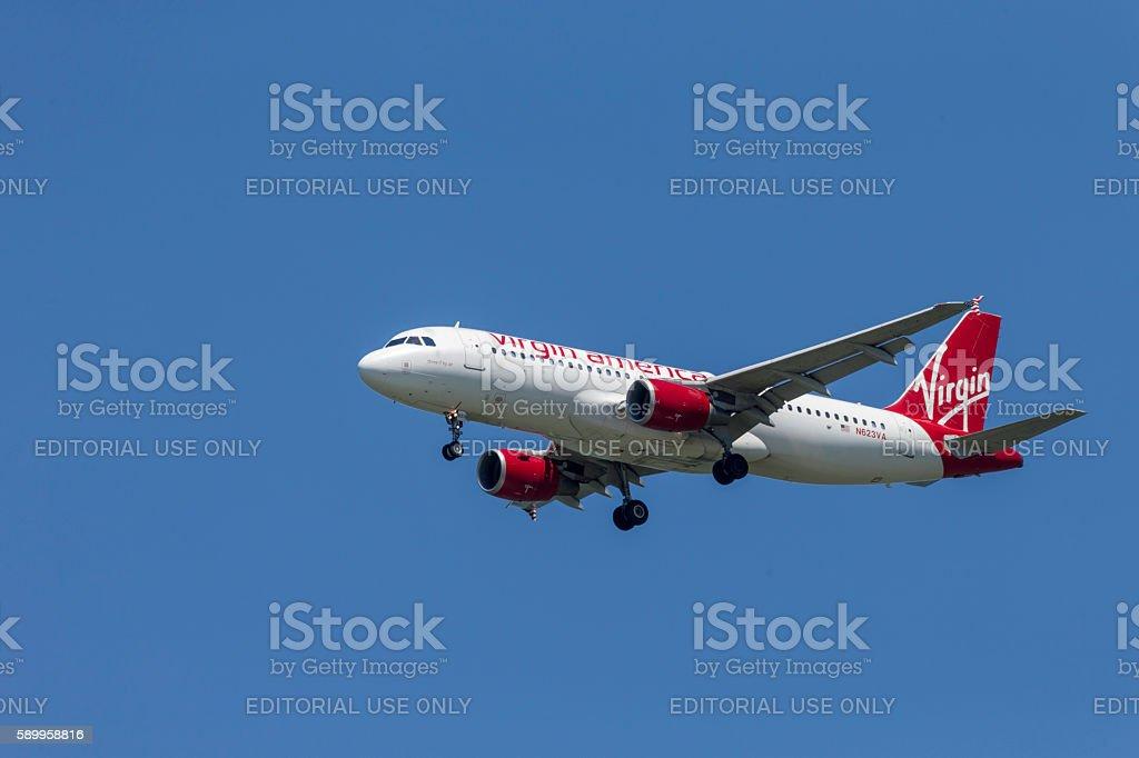 Virgin America Airline Airplane Landing to San Francisco Airport stock photo
