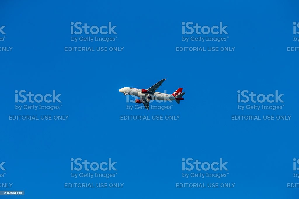 Virgin America Airlines take off stock photo