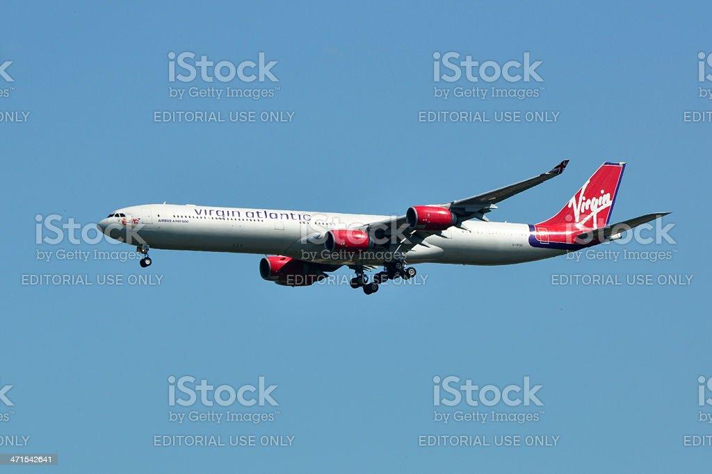 Virgin Atlantic Airbus A340 Landing stock photo