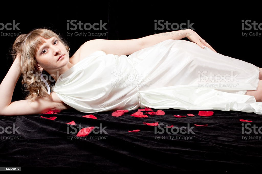 Virgin: Beautiful young woman with ToGA stock photo
