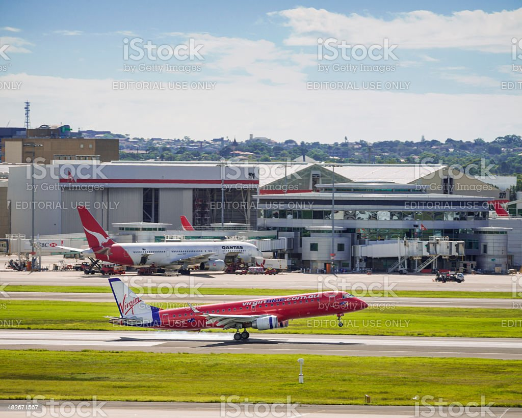 Virgin Blue Touchdown at Sydney Airport royalty-free stock photo