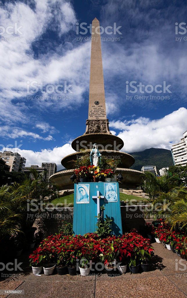 Virgen en la Plaza Francia, Caracas. stock photo