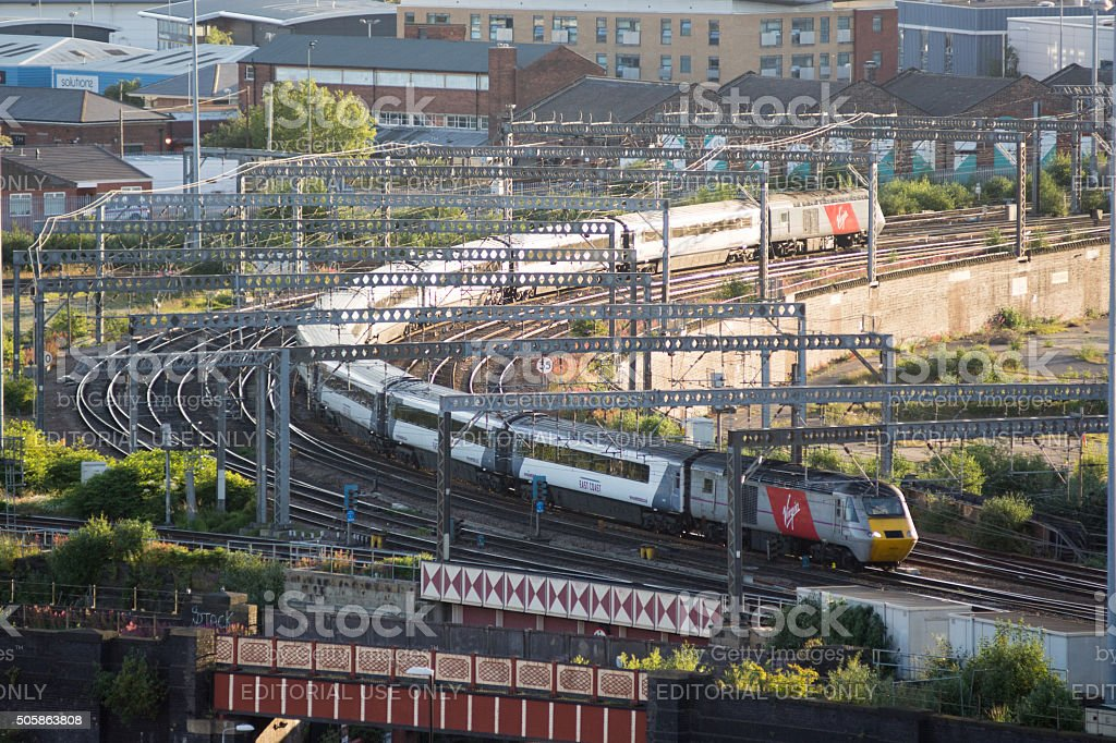 Virgin InterCity East Coast train in Leeds, England stock photo