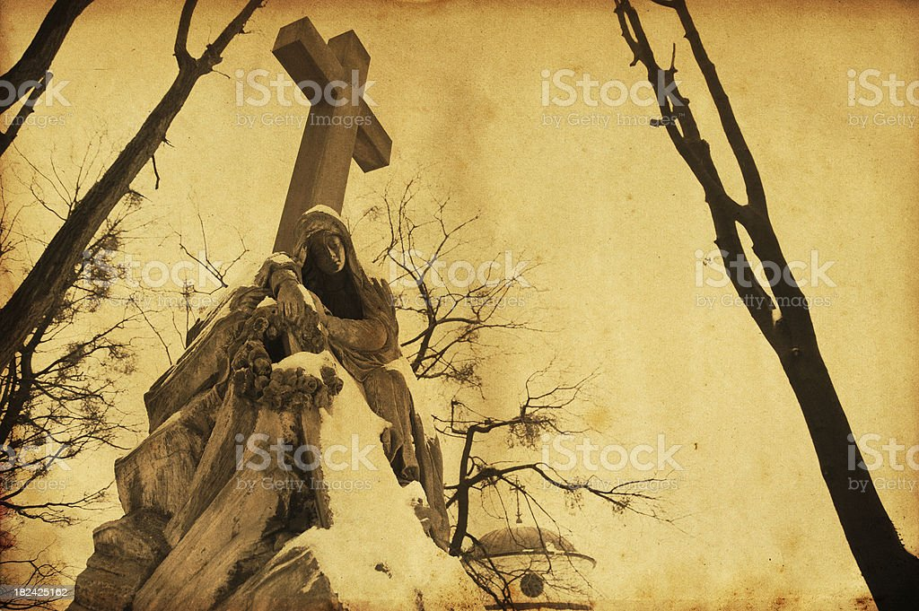 Virgin Mary and Cross statue royalty-free stock photo