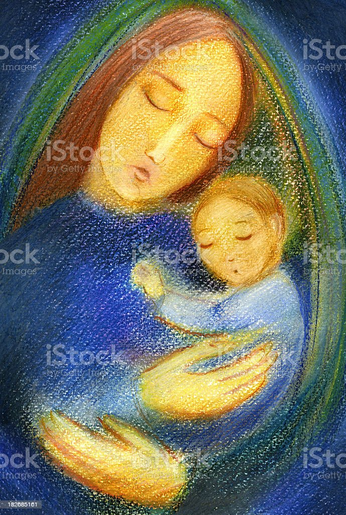 Virgin Mary and Infant Jesus stock photo