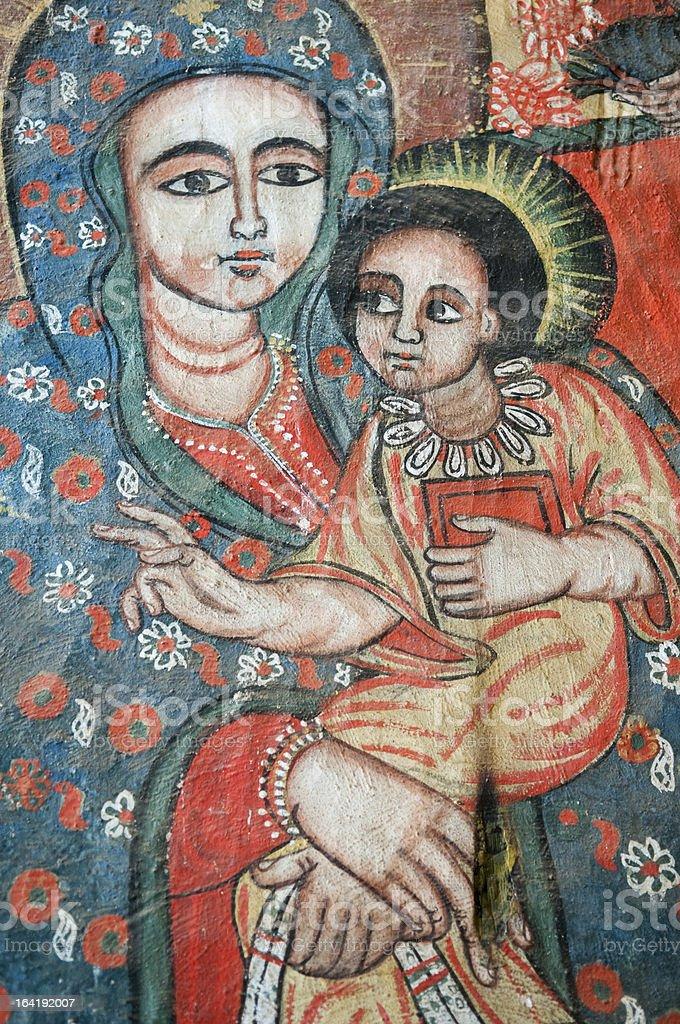 Virgin Mary and Jesus - Ethiopia stock photo