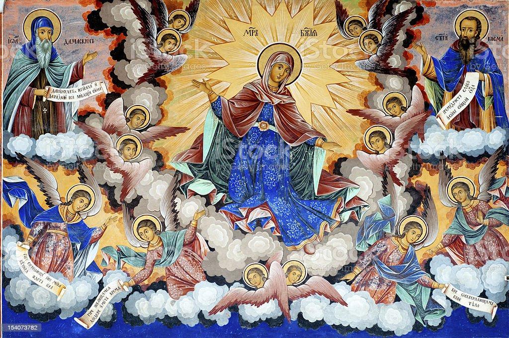 Virgin Mary, Fresco in Rila Monastery, Bulgaria stock photo