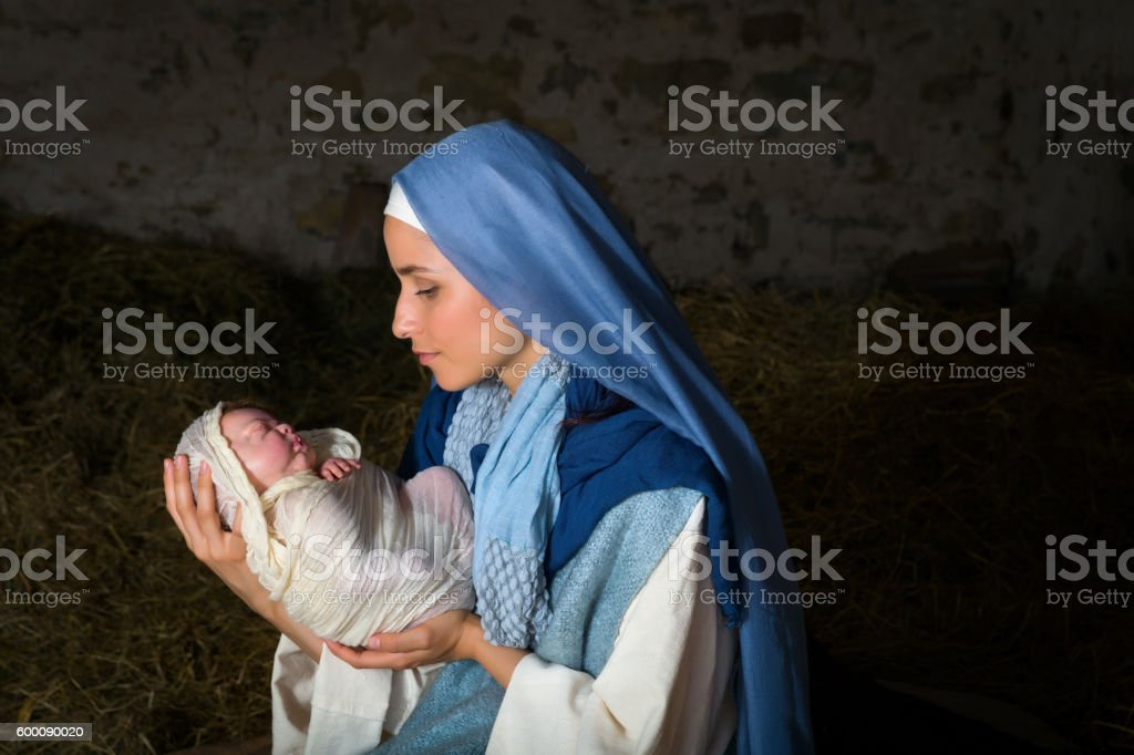 Virgin Mary holding baby Jesus stock photo