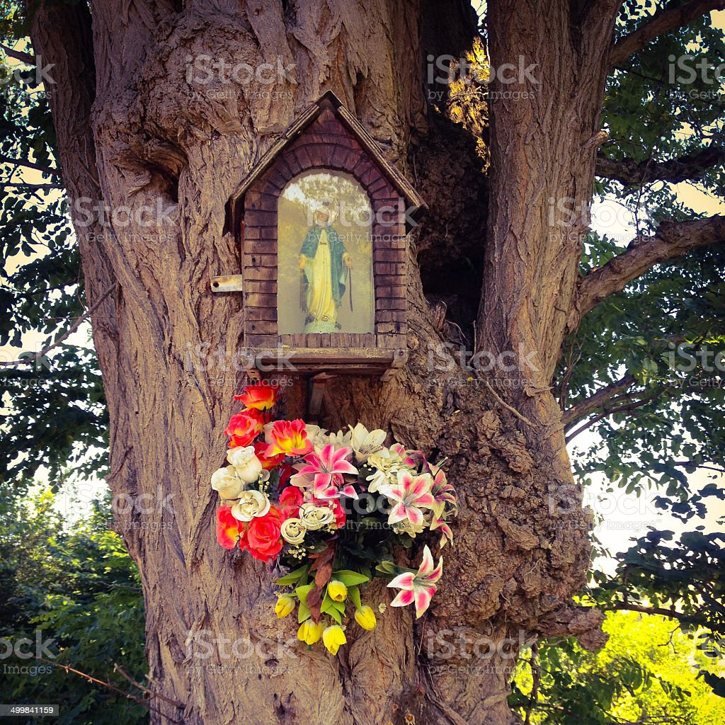 Virgin mary in little chapel, Cantabria, Spain stock photo
