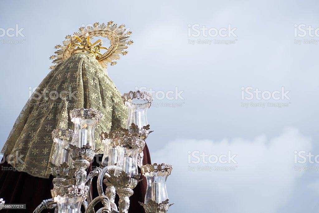 Virgin Mary looking at the sky stock photo