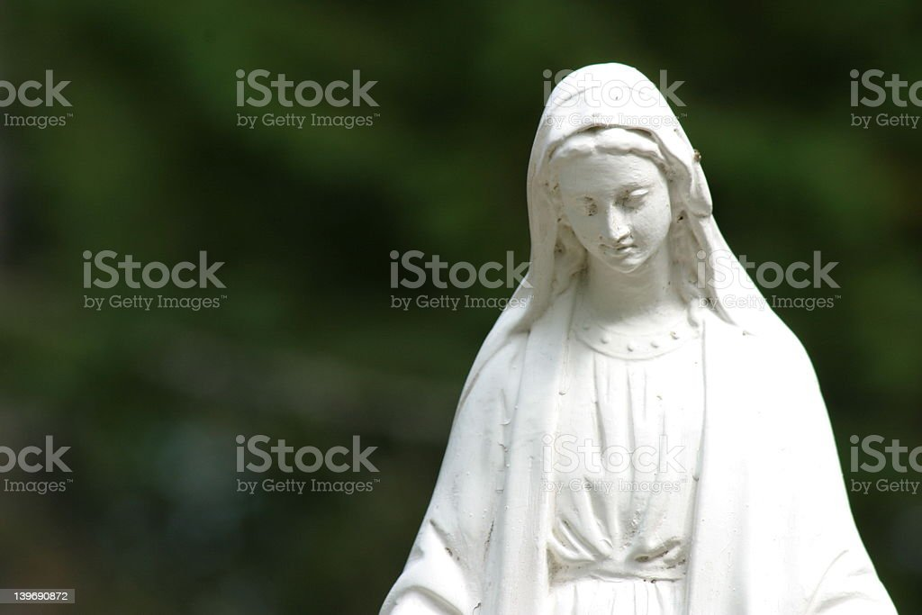 Virgin Mary Statue in wilderness stock photo