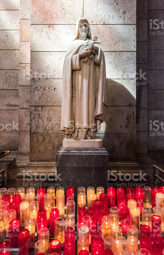 Virgin Mary's Statue in Sacre-Coeur Basilica, Paris stock photo