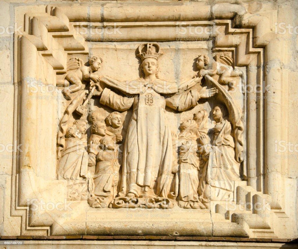 Virgin of Carmen on facade of Templo del Carmen Alto, Oaxaca, Mexico stock photo
