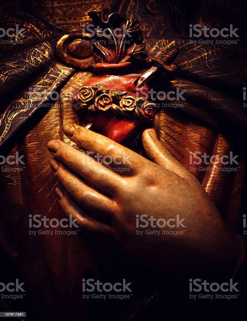 virgin of the sacred heart barcelona stock photo